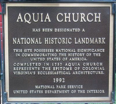 Aquia Church is a National Historic Landmark image. Click for full size.