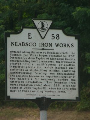 Neabsco Iron Works Marker image. Click for full size.