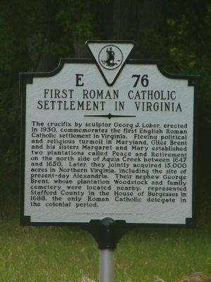 First Roman Catholic Settlement in Virginia Marker image. Click for full size.