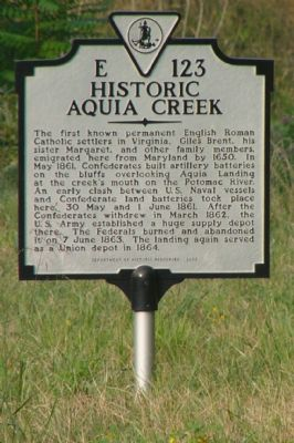 Historic Aquia Creek Marker image. Click for full size.