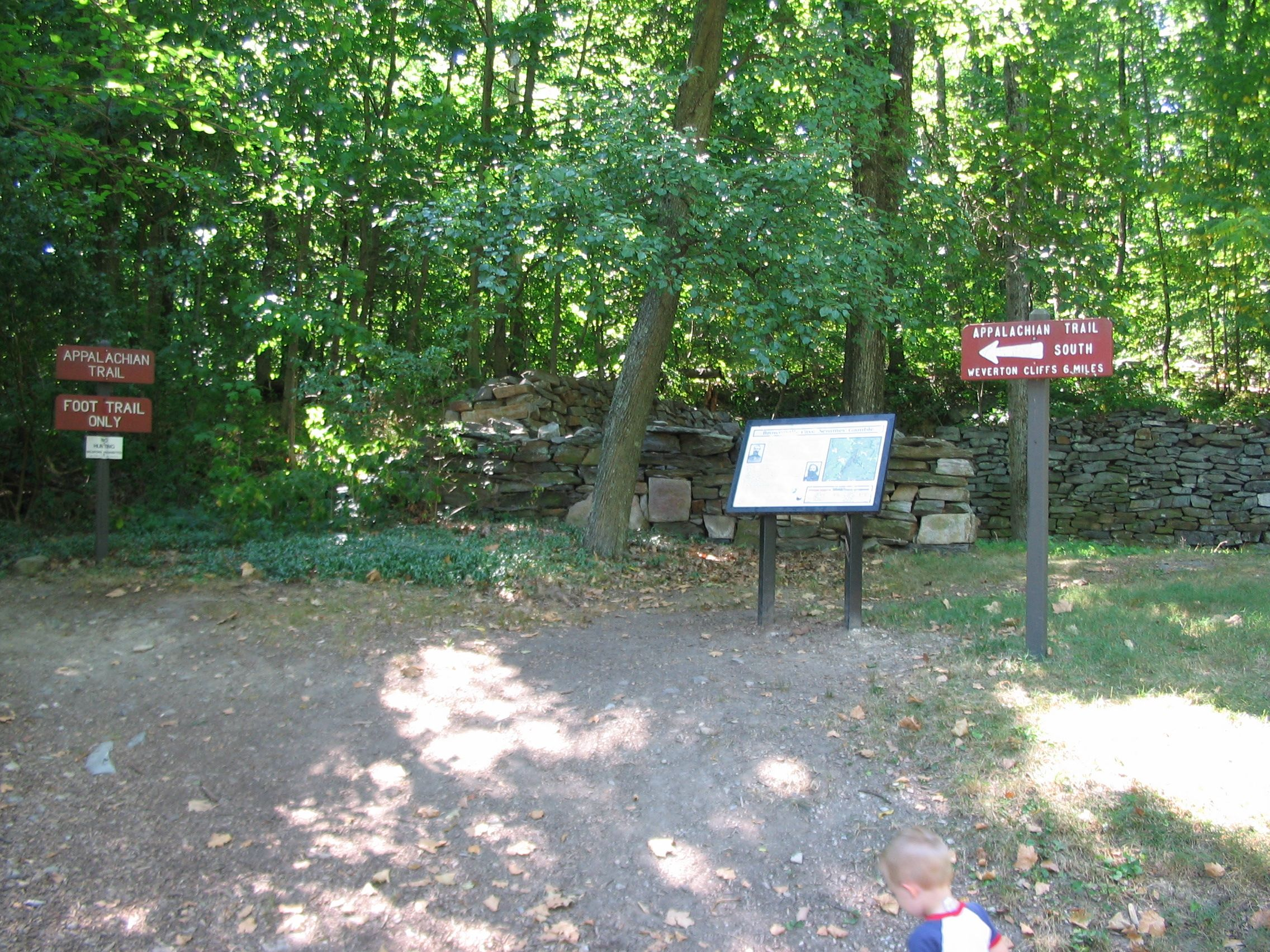 The Appalachian Trail Runs Beside the Marker