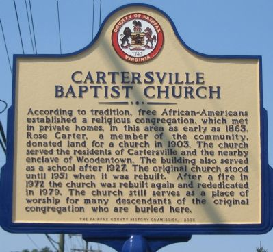 Cartersville Baptist Church Marker image. Click for full size.