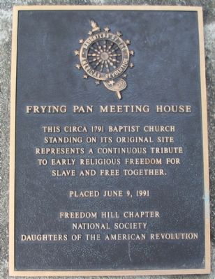 Frying Pan Meeting House Marker image. Click for full size.