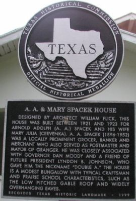 A. A. & Mary Spacek House Marker image. Click for full size.