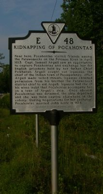 Kidnapping of Pocahontas Marker image. Click for full size.