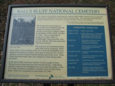 Old Ball's Bluff National Cemetery Marker image. Click for full size.