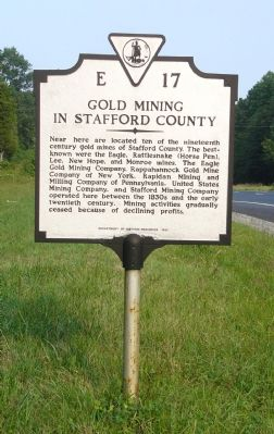 Gold Mining in Stafford County Marker image. Click for full size.