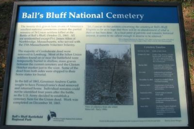 Ball's Bluff National Cemetery Marker image. Click for full size.