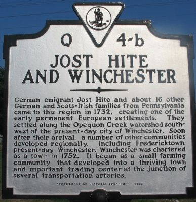 Jost Hite and Winchester Marker image. Click for full size.