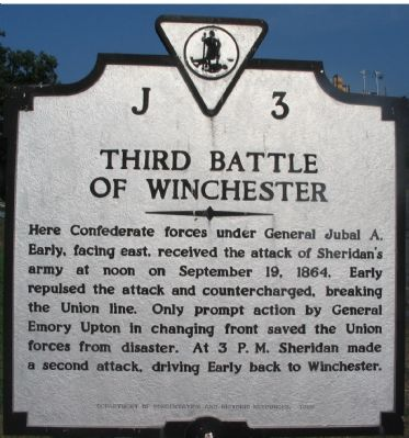 Third Battle of Winchester Marker image. Click for full size.