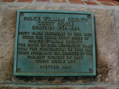Prince William County Court House Marker image. Click for full size.