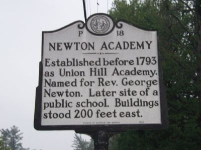Newton Academy Marker - Facing North West image. Click for full size.