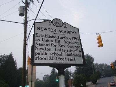 Newton Academy Marker - Facing South image. Click for full size.