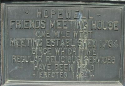 Hopewell Friends Meeting House Marker image. Click for full size.