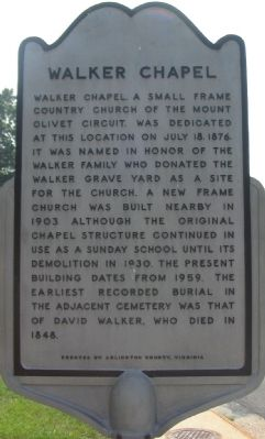 Walker Chapel Marker image. Click for full size.