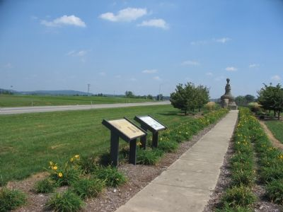 Two Markers, Jug Bridge Memorial, and Lafayette Visit Memorial Stone image. Click for full size.