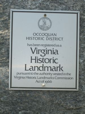 Occoquan Historic District Virginia Historic Landmark Plaque image. Click for full size.