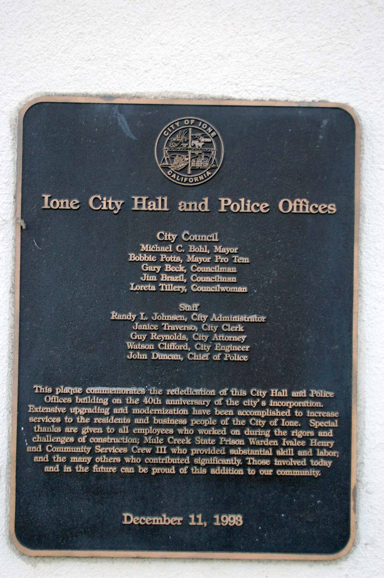 Ione City Hall and Police Offices Marker