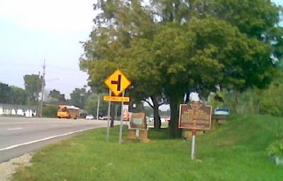 Marker can be seen in the distance next to Hebron Rd., State Rt. 79. Coffman Blvd. is on left. image. Click for full size.