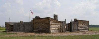 Reproduction of Camp Dubois at Lewis and Clark State Historic Site image. Click for full size.