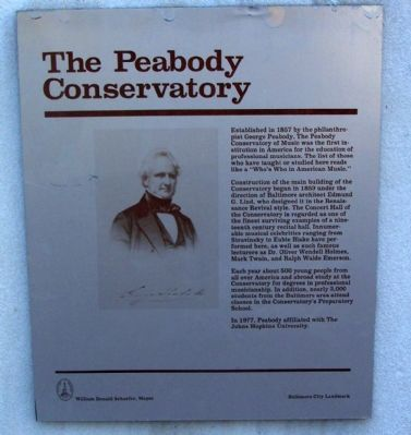 The Peabody Conservatory Marker image. Click for full size.