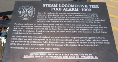 Steam Locomotive Tire Fire Alarm - 1909 Marker image. Click for full size.