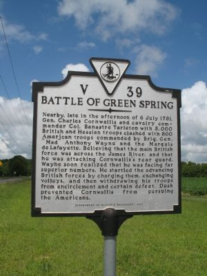 Battle Of Green Spring Marker image. Click for full size.