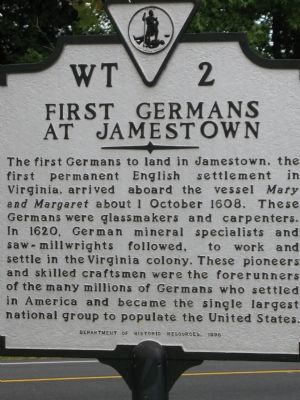 First Germans at Jamestown Marker image. Click for full size.