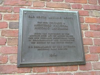 Old South Meeting House Marker image. Click for full size.