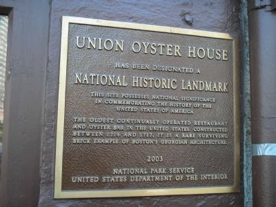 Union Oyster House Marker image. Click for full size.