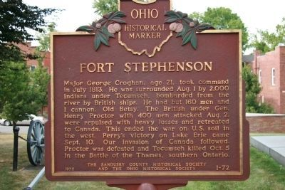 Fort Stephenson Marker </b>(reverse) image. Click for full size.
