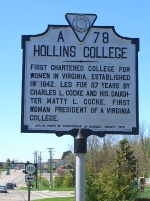 Hollins College Marker image. Click for full size.
