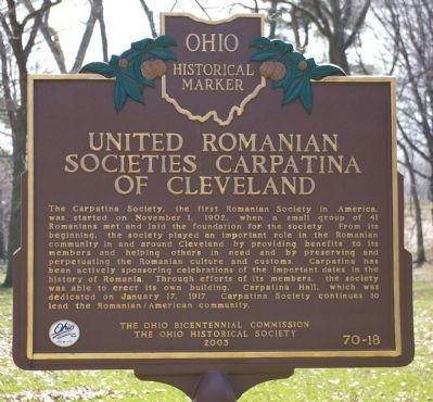 United Romanian Societies Carpatina of Cleveland side image. Click for full size.