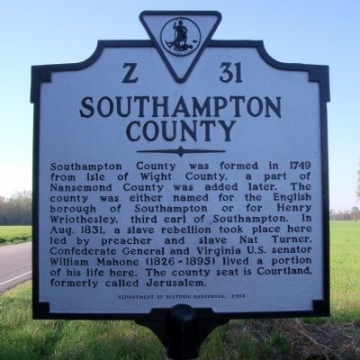 Southampton County Marker image. Click for full size.
