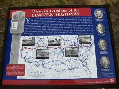 Western Terminus of the Lincoln Highway Marker image. Click for full size.