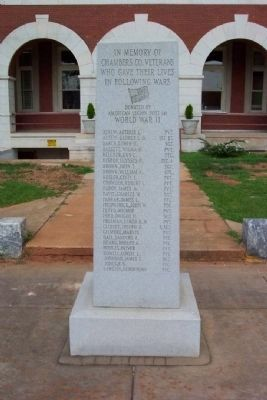 Chambers County War Memorial World War II [West Face] image. Click for full size.