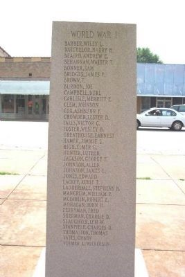 Chambers County War Memorial World War I [East Face] image. Click for full size.