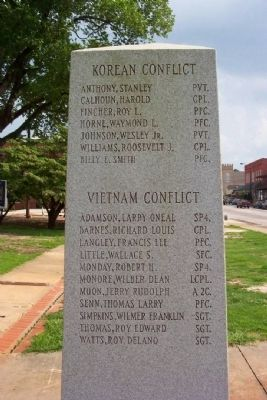 Chambers County War Memorial Korea and Vietnam [North Face] image. Click for full size.