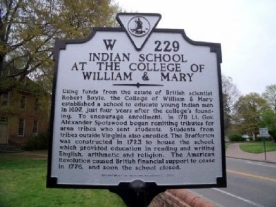 Indian School at the College of William & Mary Marker image. Click for full size.