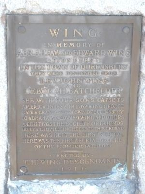 Wing Memorial Marker image. Click for full size.
