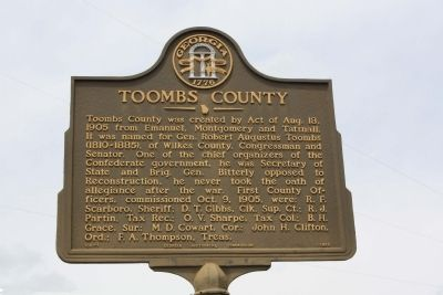 Toombs County Marker image. Click for full size.