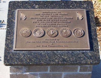 In Honor Of All Veterans Marker, Plaque 1 image. Click for full size.