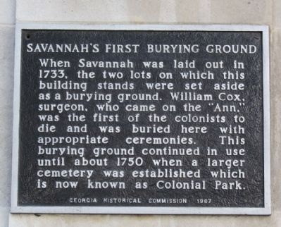 Savannah's First Burying Ground Marker image. Click for full size.