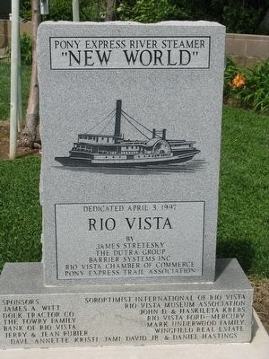 "Front of the Marker - Pony Express River Steamer ""NEW WORLD"" image. Click for full size."
