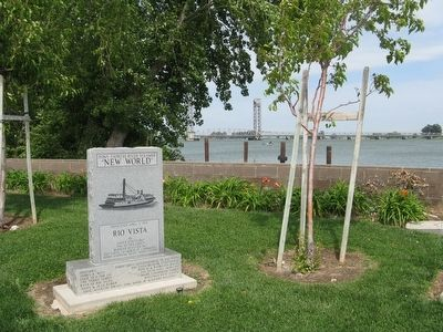 "Wide View of Front of Marker - Pony Express River Steamer ""NEW WORLD"" image. Click for full size."