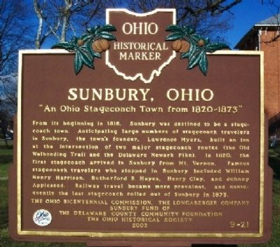 Sunbury, Ohio Marker (Side A) image. Click for full size.