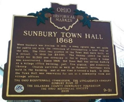 Sunbury Town Hall Marker (Side B) image. Click for full size.