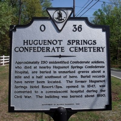 Huguenot Springs Confederate Cemetery Marker image. Click for full size.
