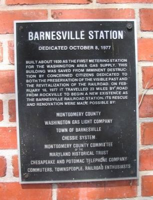 Barnesvile Station Marker image. Click for full size.