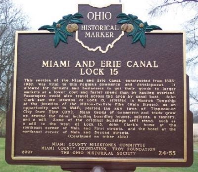 Miami and Erie Canal Lock 15 Marker (Side A) image. Click for full size.